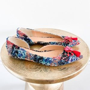 J.Crew Audrey Tweed Multi Color Beaded Flats